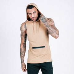 machine-fitness Flow Cut-Off Hoodie - French Beige