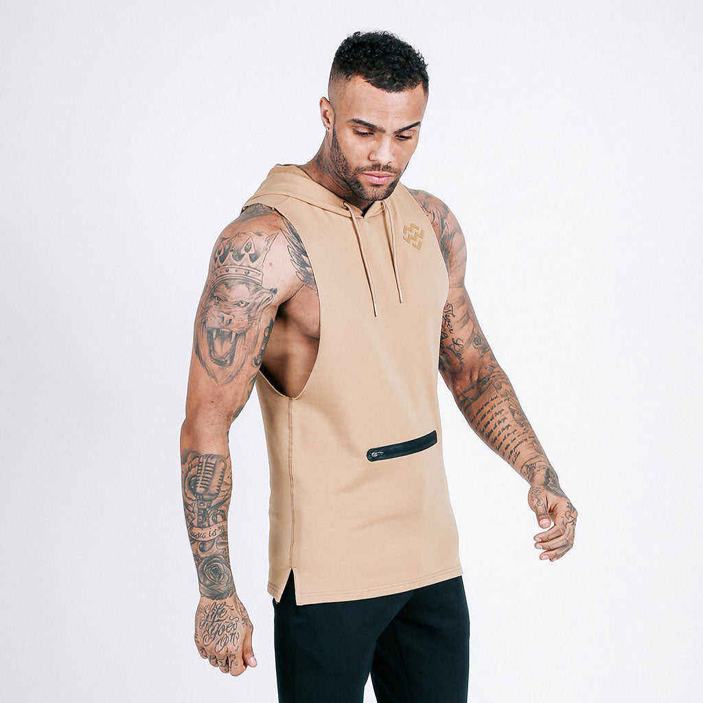 French Beige machine-fitness Flow Cut-Off Hoodie