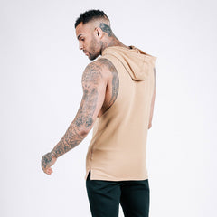 machine-fitness Flow Cut-Off Hoodie in French Beige