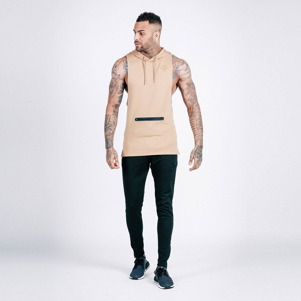 machine-fitness French Beige Flow Cut-Off Hoodie