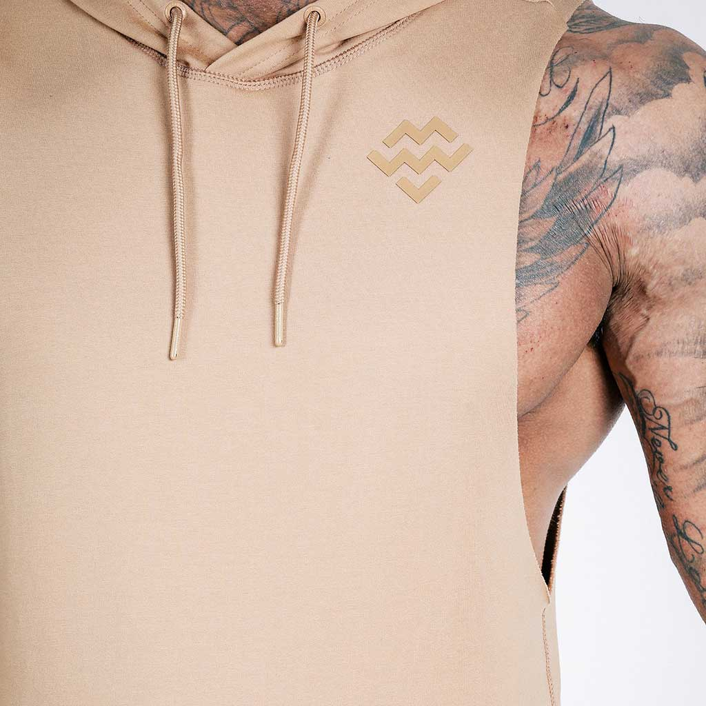 machine-fitness Flow Cut-Off French Beige Hoodie