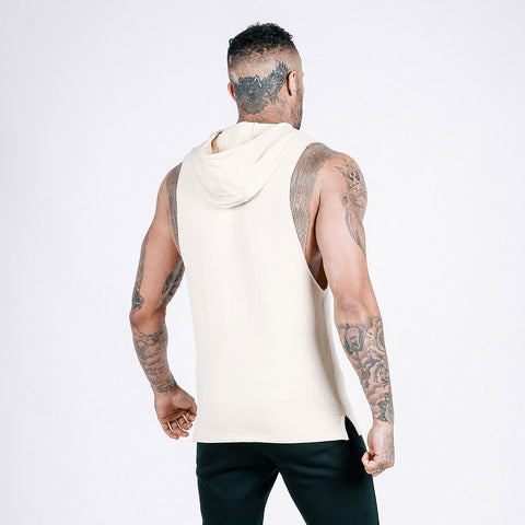 machine fitness Flow Cut-Off Hoodie in Off White