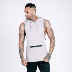 machine fitness Flow Cut-Off Hoodie - Stone