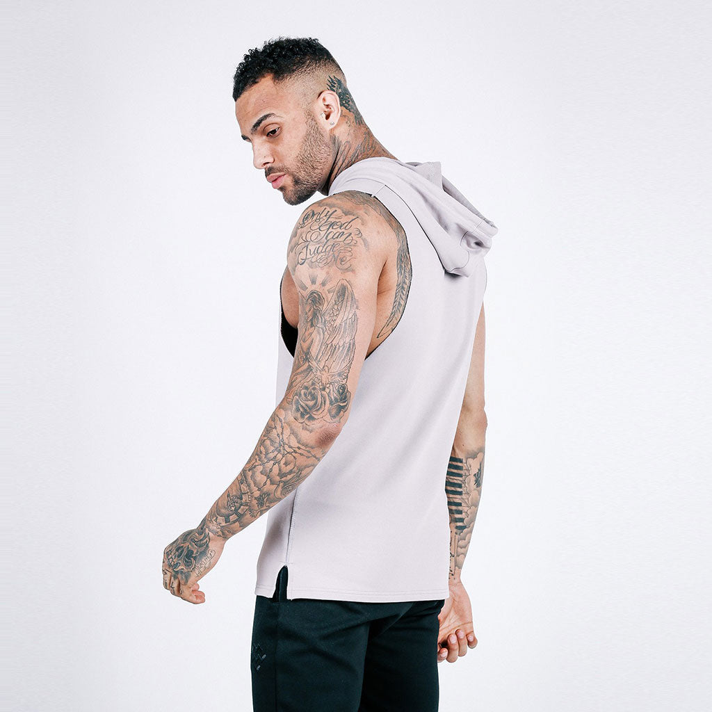 machine fitness Flow Cut-Off Hoodie in Stone