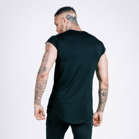 machine fitness Flow drop shoulder tee black
