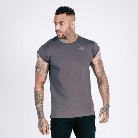 machine fitness Flow drop shoulder tee in dark grey
