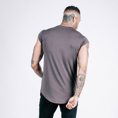 machine fitness Flow drop shoulder tee dark grey