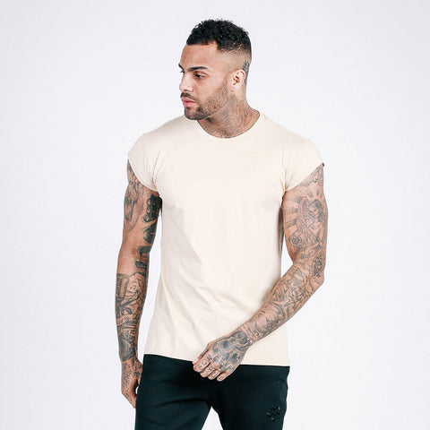 machine fitness Flow drop shoulder tee in off white