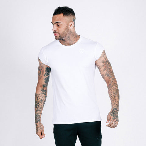 machine fitness Flow drop shoulder tee in white