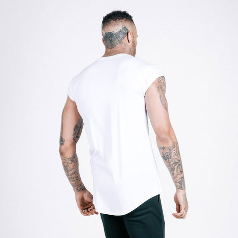 machine fitness Flow drop shoulder tee white