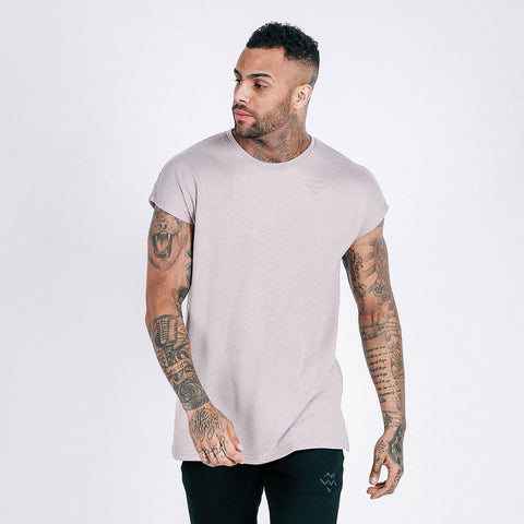 machine fitness flow oversized throwover tee in mauve