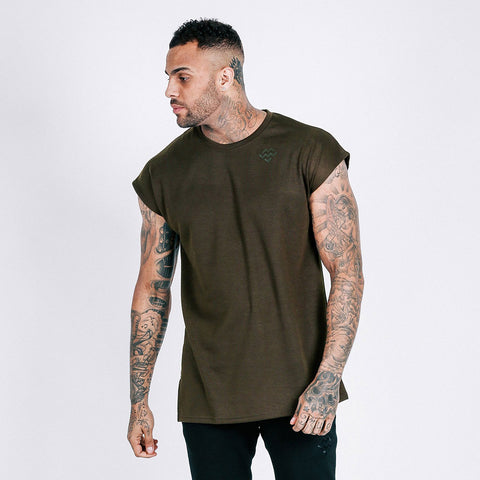 machine fitness flow oversized throwover tee in military khaki