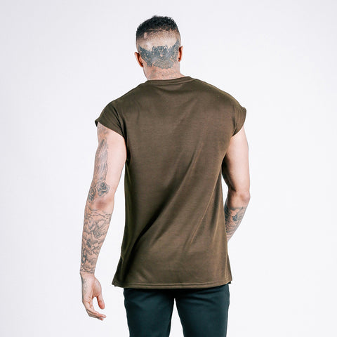 machine fitness flow oversized throwover tee military khaki