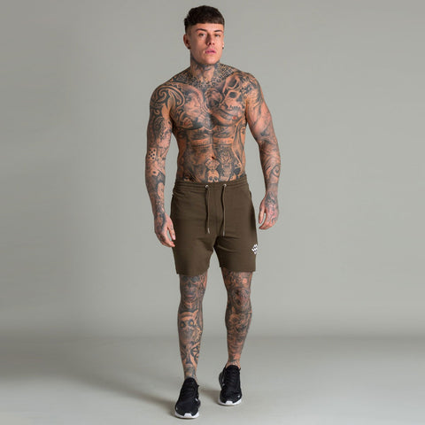 Machine Fitness Raw Cut Intensity Shorts Khaki