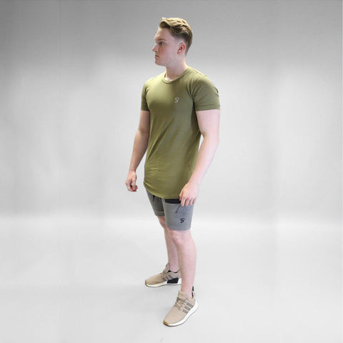 Sans Pareil Tech Side Panel Tee in Olive Green