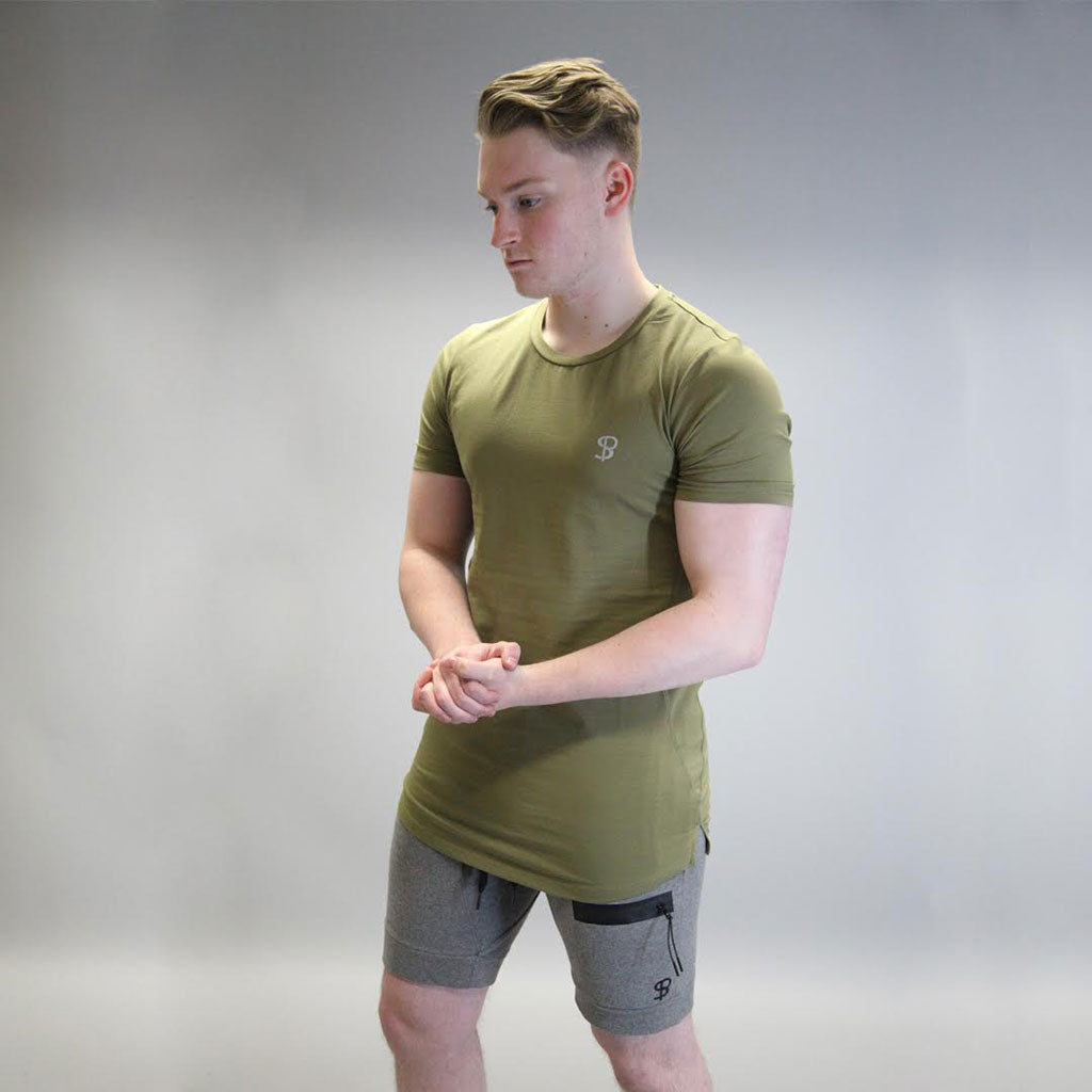 Sans Pareil Tech Side Panel Tee in Olive