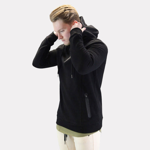 Black Sans Pareil Elevate 3Quarter Zip Pullover Hoodie
