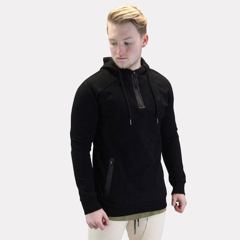 Sans Pareil Elevate 3Quarter Zip Pullover Hoodie - Black
