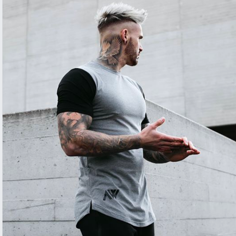 Contrast Tee Grey Black