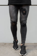 Ripped and Repaired Jeans - Grey
