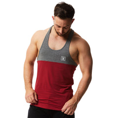 vxs gym wear Core Stringer in dark red charcoal