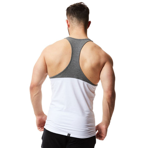 vxs gym wear Core Stringer in white and grey