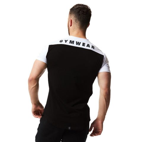vxs gym wear fusion t shirt in black white