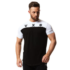 vxs gym wear fusion t shirt in black