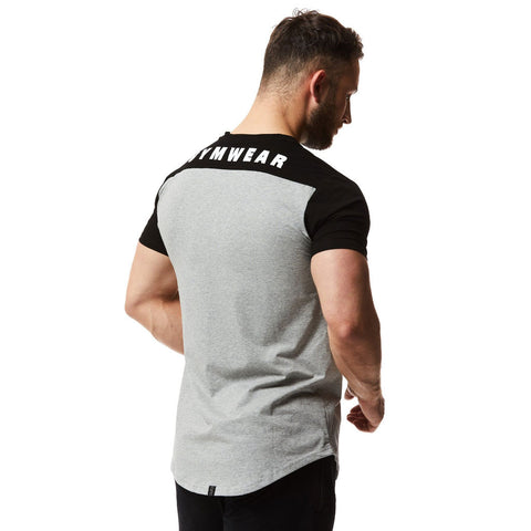 vxs gym wear fusion t shirt in grey and black