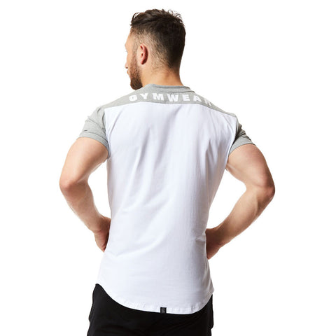vxs gym wear fusion t shirt in white and grey