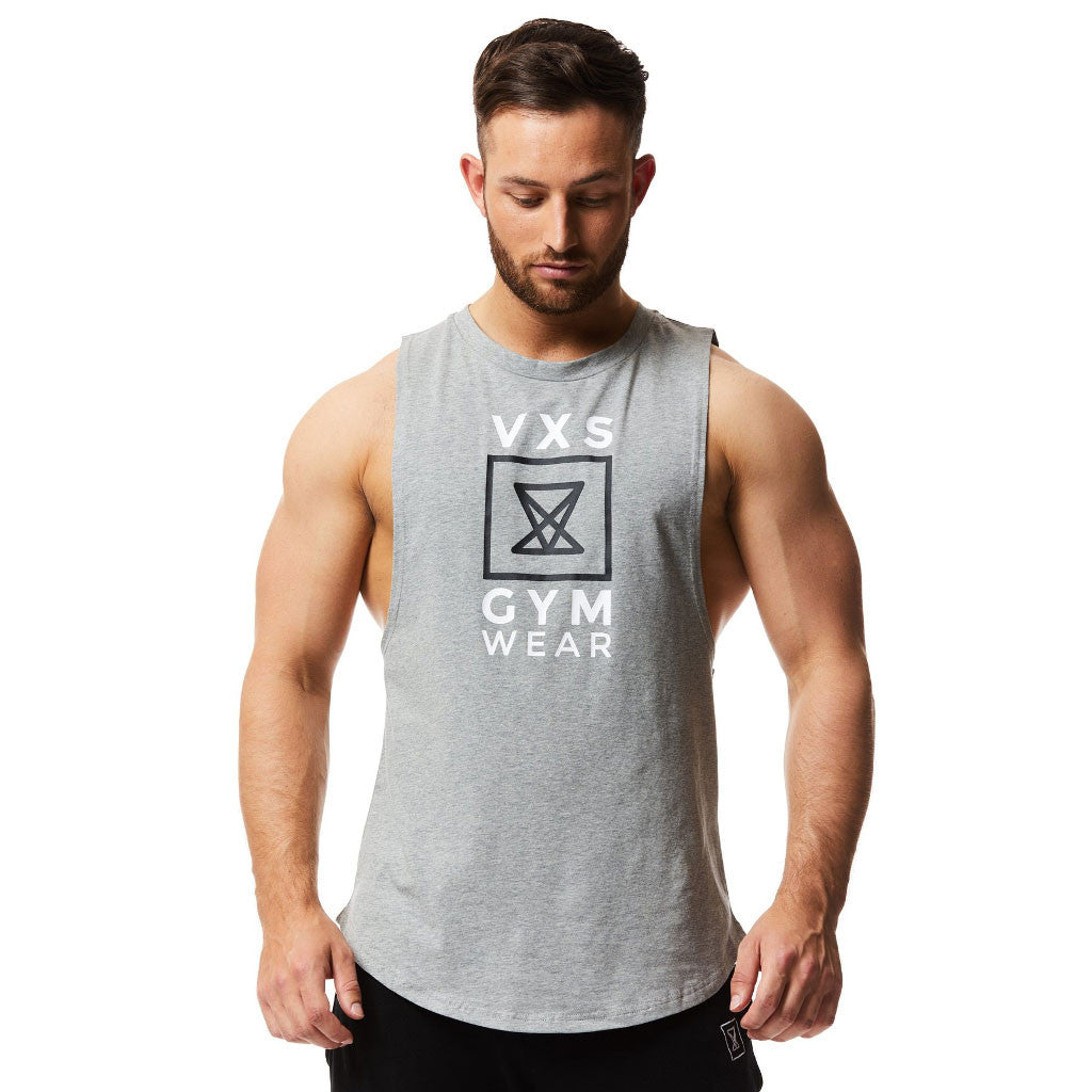 847bb2d685776 VXS Gym Wear - Sleeveless Tee - Grey – Muscle and Style