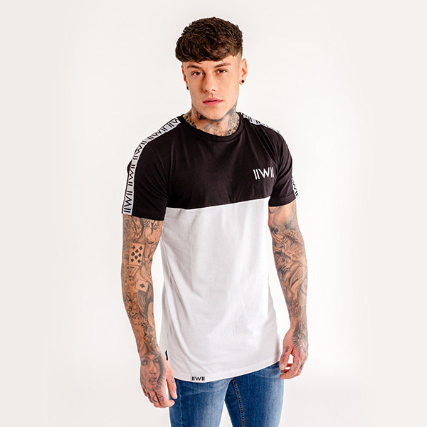 iiwii striped tee in black-white