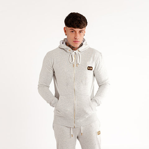 iiwii signature zipped hoodie in marl grey