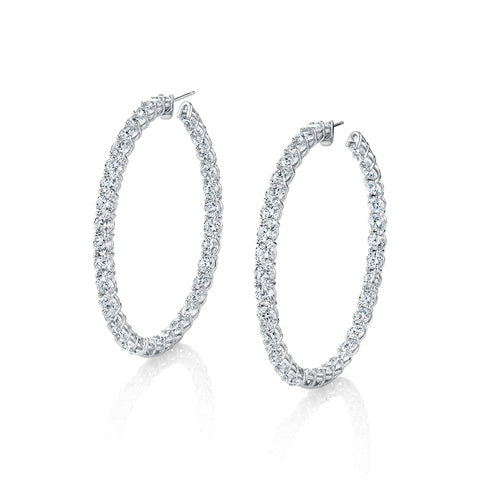 Inside Out Round Diamond Hoop Earrings