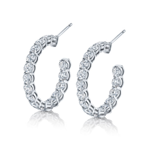 Round-Cut Diamond Hoop Earrings