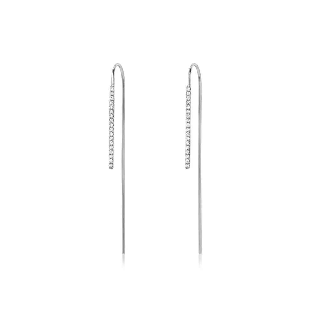 EAR PINS WITH DIAMOND BAR - MEDIUM