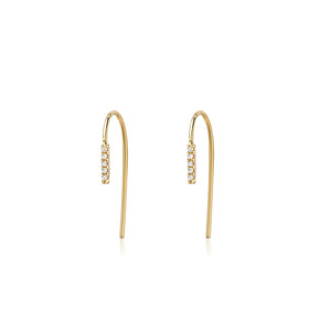 EAR PINS WITH DIAMOND BAR - SHORT