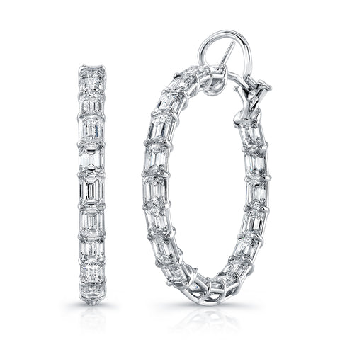 Emerald-Cut Diamond Hoop Earring