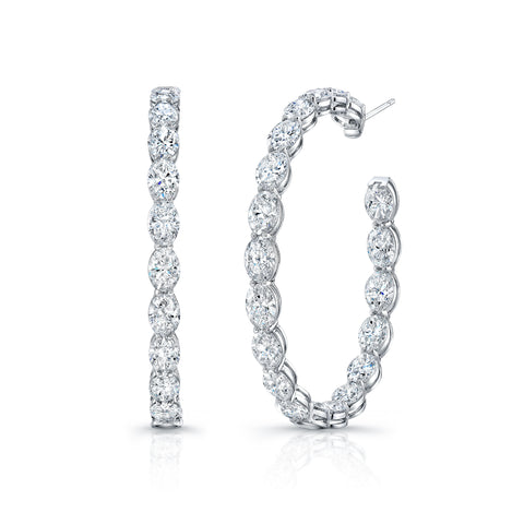 Inside Out Oval-Cut Diamond Hoop Earring