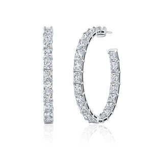 Inside Out Radiant-Cut Diamond Hoop Earring