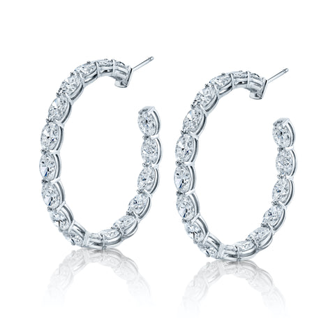 Wrap Around Oval-Shaped Diamond Hoops