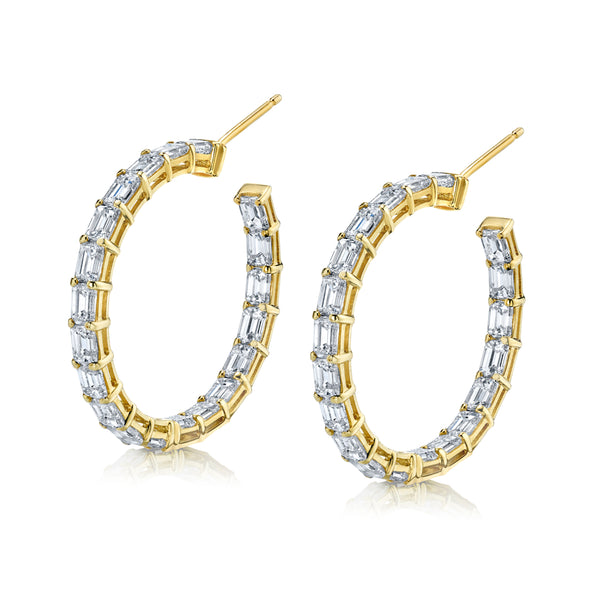 Emerald-Shaped Diamond Hoop Earrings
