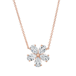 Diamond Flower Pendant Necklace