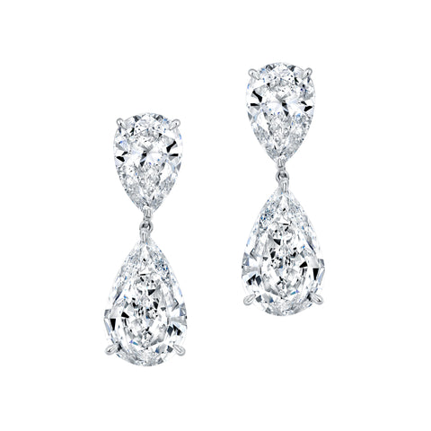 Pear-Shaped Diamond Dangle Earrings