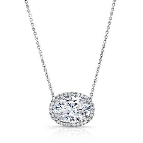 Oval-Cut Halo Diamond Necklace