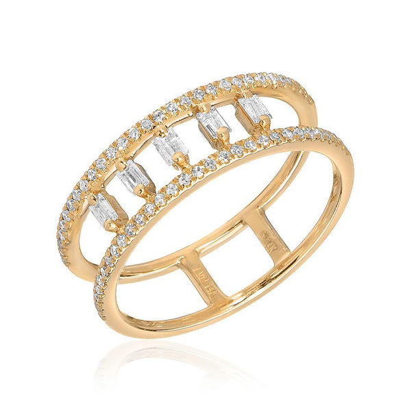 BAGUETTE PILLARS DOUBLE BAND RING