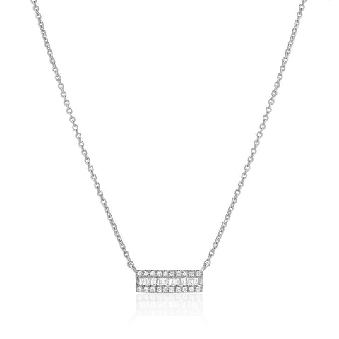 SMALL CHANNEL BAGUETTE WITH DIAMOND EDGE BAR NECKLACE