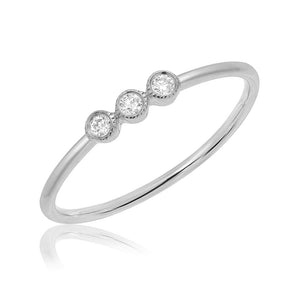 THIN BAND WITH THREE BEZEL SET DIAMONDS