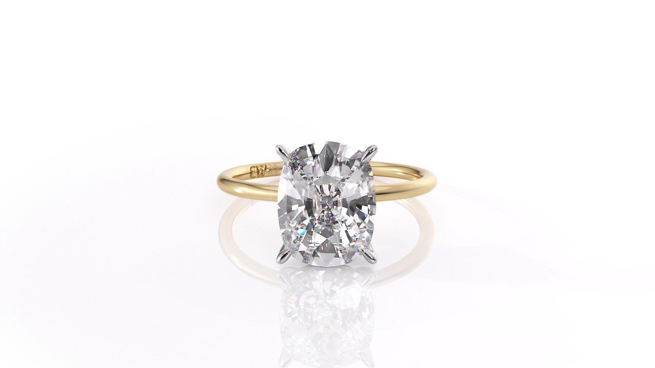 Micro Thin Cushion Solitaire in Yellow Gold