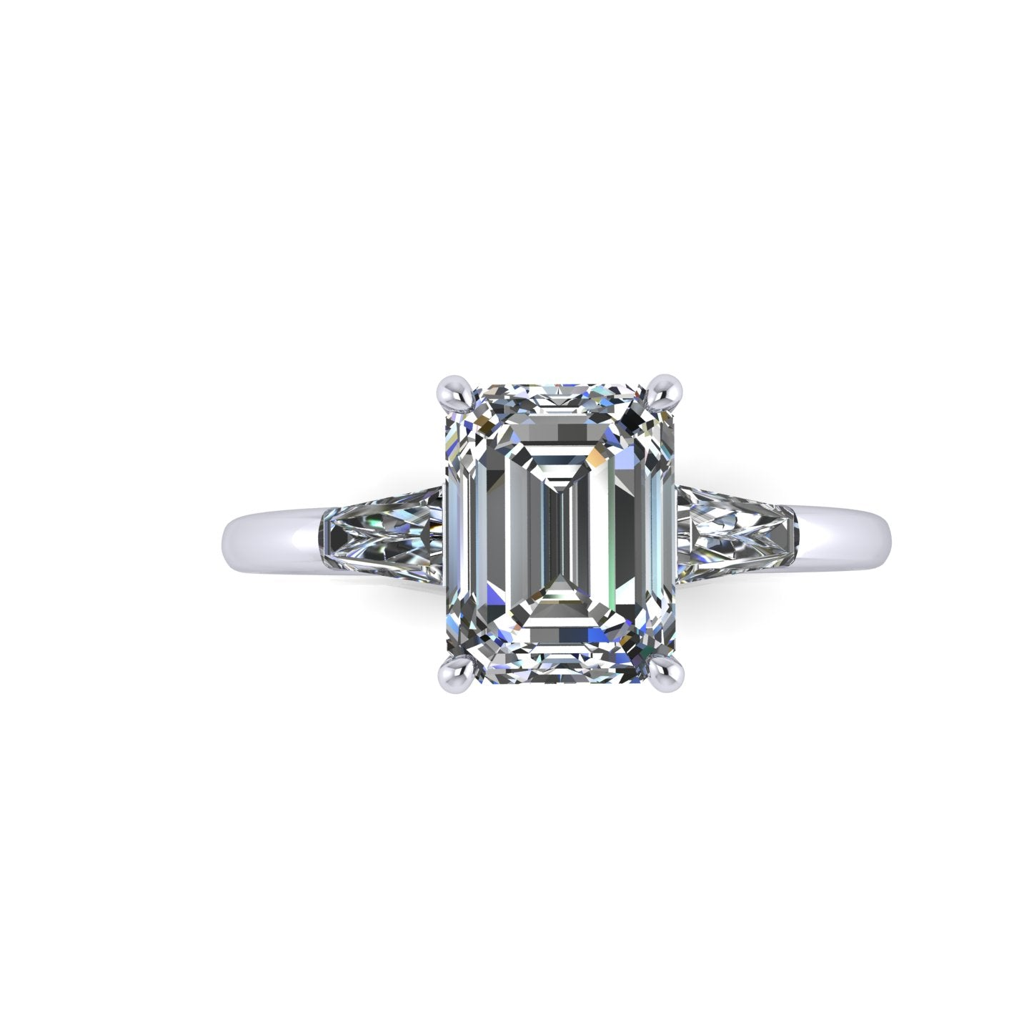 SIGNATURE EMERALD CUT with TAPERED BAGUETTES ENGAGEMENT RING
